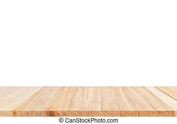 vuoto, cima, di, tavola legno, o, contatore, isolato, bianco