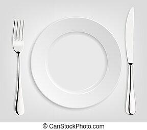 vuoto, coltello, fork., piastra