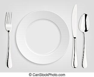 vuoto, coltello, fork., placchi cucchiaio