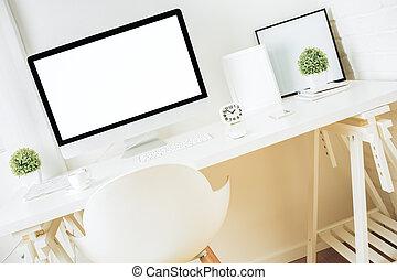 vuoto, computer, progettista, schermo, desktop