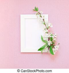 vuoto, cornice, mockup, con, fiori bianchi
