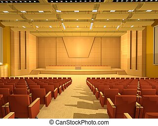 vuoto, corridoio conferenza, o, stanza