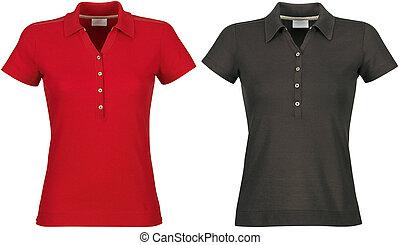 vuoto, di, rosso, &, nero, t-shirts, fronte, con, ritaglio, path.