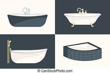 vuoto, fascio, vasca bagno