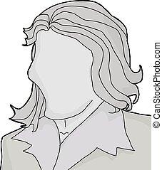 vuoto, femmina, illustrazione, faccia