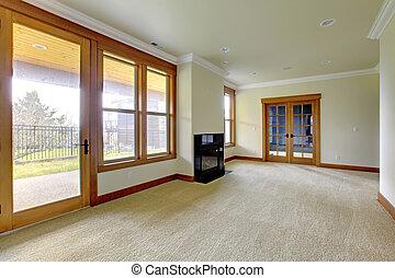 vuoto, grande, stanza, con, fireplace., nuovo, sede lusso, interior.