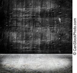 vuoto, grunge, parete concreta, e, pavimento cemento, fondo