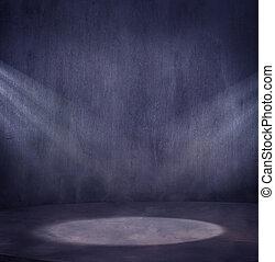 vuoto, grungy, scena, con, 2, luce, spo