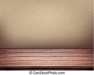 vuoto, interno, parete, con, tavola legno