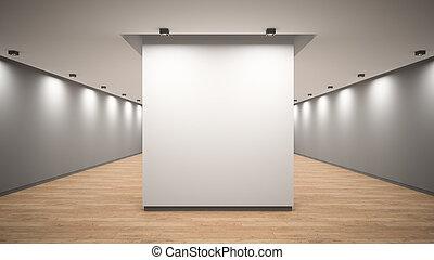 vuoto, interpretazione, galleria, interno, 3d