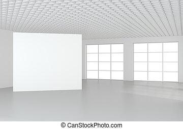 vuoto, interpretazione, interior., tabellone, bianco, vuoto, 3d
