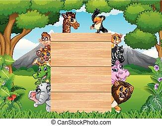 vuoto, legno, animali, segno