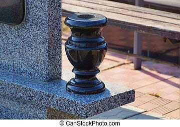 vuoto, leva piedi, uno, grigio, parete, vaso, monumento, marmo, pietra, nero