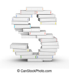 vuoto, libri, accatastato, lettera s