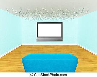 vuoto, lussuoso, divano, galleria