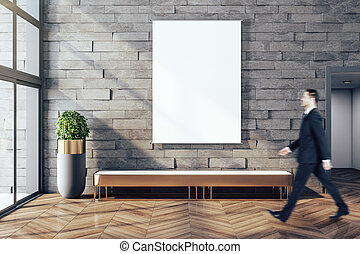 vuoto, manifesto, uomo affari, moderno, galleria