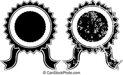 vuoto, nero, sigillo, grunge