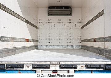 vuoto, nolo, scompartimento, di, uno, camion