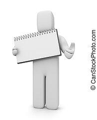 vuoto, persona, quaderno, su, pollici