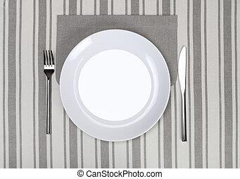 vuoto, piastra, con, forchetta, e, coltello