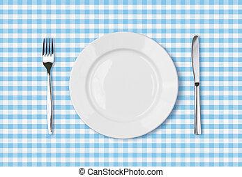 vuoto, piatto piano, vista superiore, su, blu, tavola picnic, stoffa