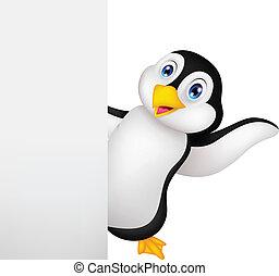 vuoto, pinguino, segno, cartone animato