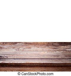 vuoto, ponte legno, tavola, con, tovaglia
