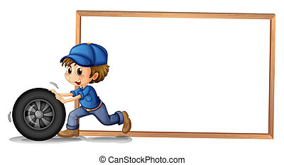vuoto, ragazzo, spinta, indietro, blankboard, ruota