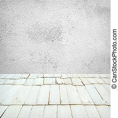 vuoto, retro, stanza, con, parete, e, pavimento legno