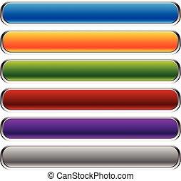 vuoto, rettangolare, bottone, sfondi, corners., orizzontale, sbarre., bottoni, colorito, space., set, arrotondato, bandiera