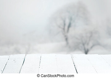 vuoto, rustico, tavola, in, uno, paesaggio inverno