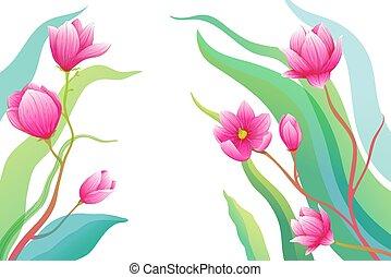 vuoto, scheda, composition., romantico, magnolia, fiori, rose, augurio, o, fondo