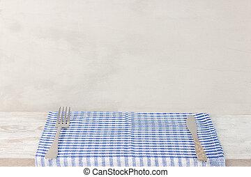 vuoto, scrivania legno, tavola, e, rosso, controllato, tovaglia, sopra, grigio, carta da parati, fondo
