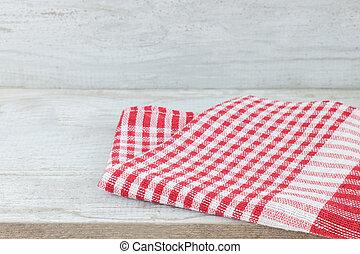vuoto, scrivania legno, tavola, e, rosso, controllato, tovaglia, sopra, menta, carta da parati, fondo
