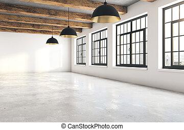 vuoto, soffitta, interno, lato