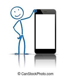 vuoto, stickman, smartphone