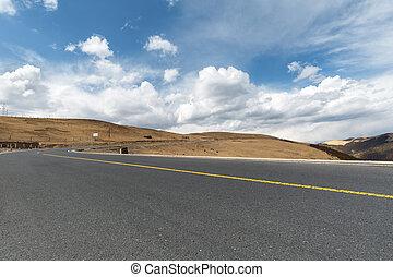 vuoto, strada asfaltata, su, altopiano