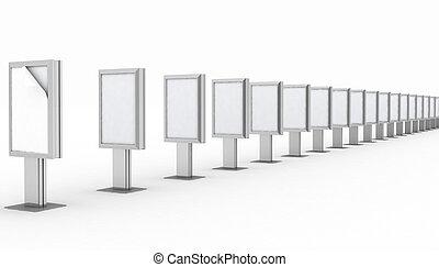 vuoto, tabellone, pubblicità, fila