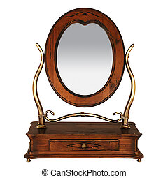 vuoto, tavola veste, specchio., isolato, bianco