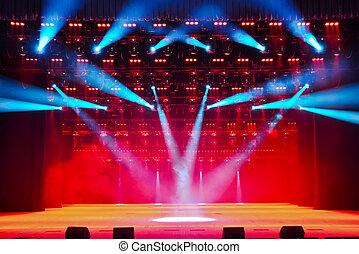 vuoto, teatro, illuminato, fumo, palcoscenico