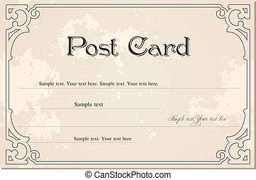 vuoto, vendemmia, vettore, grunge, postcard.