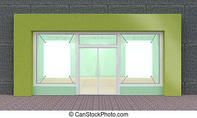 vuoto, verde, immagazzinare parte anteriore, con, grande,...