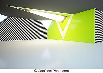 vuoto, verde, interno, lato
