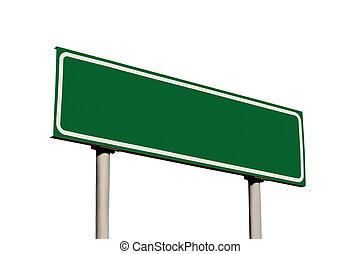 vuoto, verde, isolato, segno strada