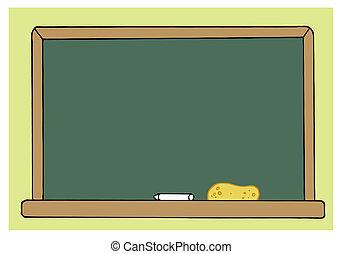 vuoto, verde, stanza classe, lavagna