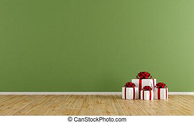 vuoto, verde, stanza, con, regalo