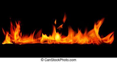 vuur, achtergrond., grens, black