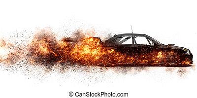 vuur, auto, black , sporten