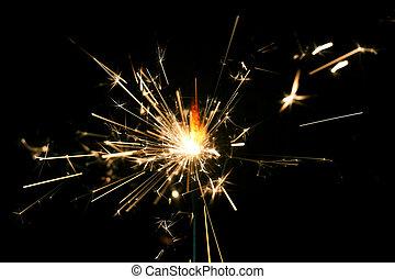 vuur, bengalen, achtergrond., black , sparkler, kerstmis