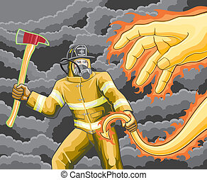vuur, brandweerman, gevechten, demon